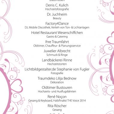 Hochzeitsmesse Ausstellerliste